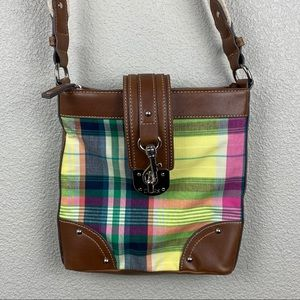 Chaps plaid canvas leather crossbody bag purse